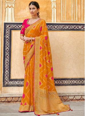 Fancy Orange Color Embroidered Designer Saree