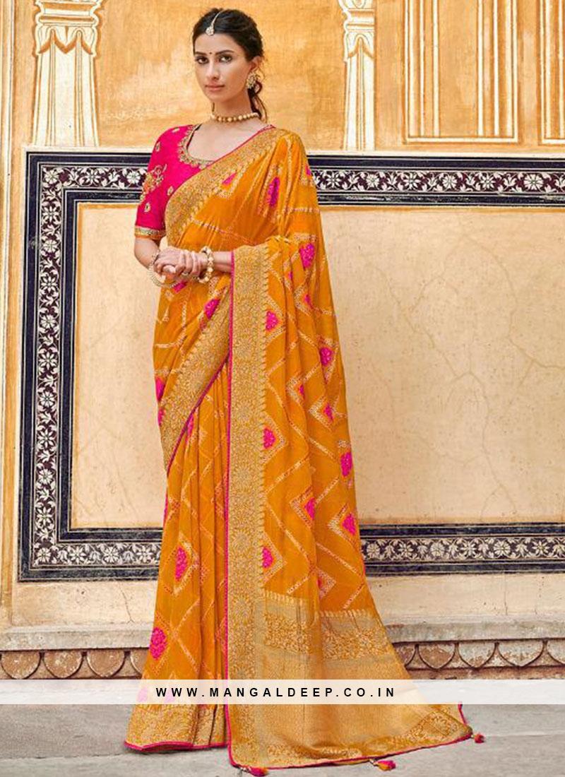 Fancy Orange Color Embroidered Designer Saree