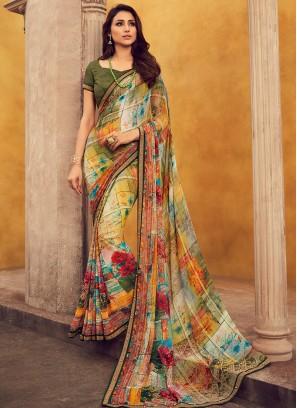 Fancy Georgette Multi Color Festive Wear Saree