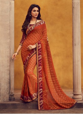 Fancy Georgette Orange Color Festive Wear Saree