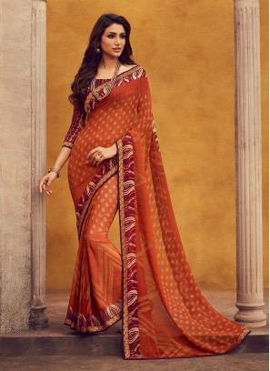 Fancy Georgette Orange Color Festive Wear Saree