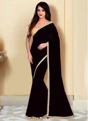 Fancy Georgette Saree In Black Color