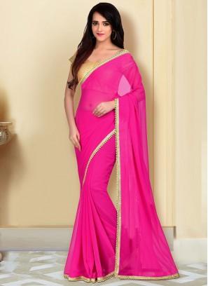 Fancy Georgette Saree In Pink Color