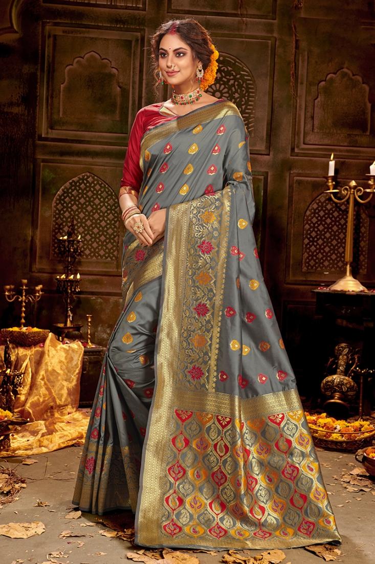 Fancy Grey Indian Saree In Silk
