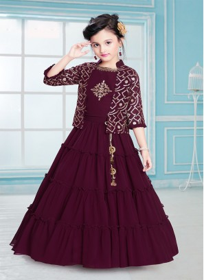 Fancy Maroon Color Sequins work Kids Wear Gown