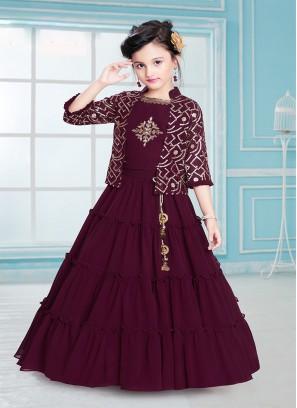 Fancy Maroon Color Sequins work Kids Wear Gown