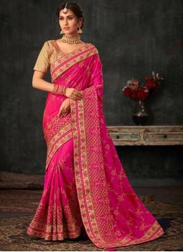 Fancy Pink Color Festive Wear Poly Silk Saree