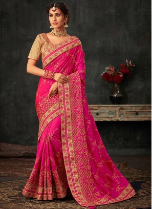 Fancy Pink Color Festive Wear Poly Silk Saree
