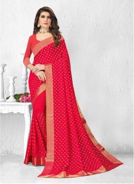 Fancy Pink Color Silk Saree