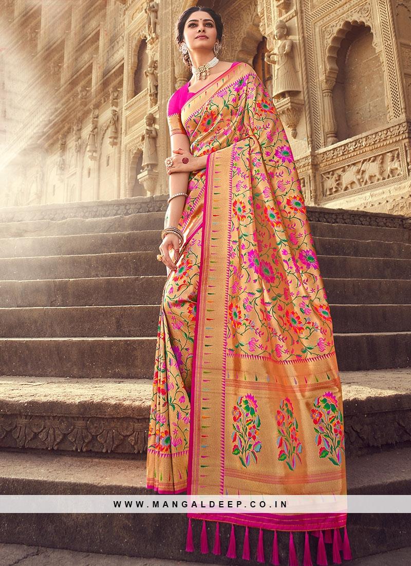 Fancy Red Color Banarsi Silk Saree