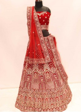 Fancy Red Color Velvet Lehenga For Bridal
