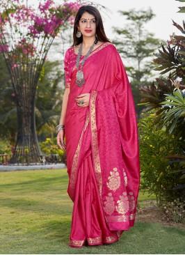 Fancy Saree In Pink Color Banarasi Silk Fabric