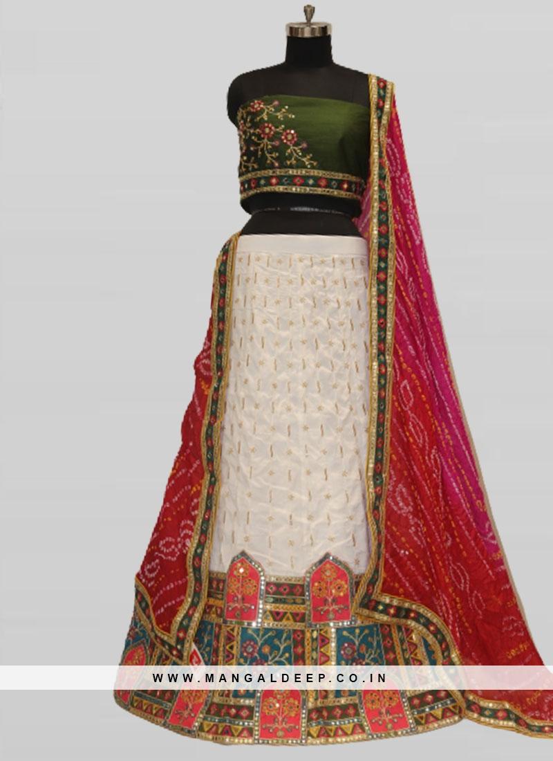 Fancy Silk Resham Work Wedding Lehenga White
