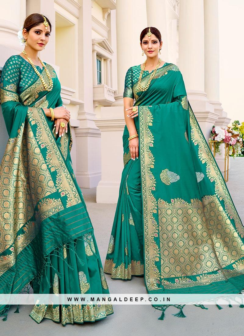 Fancy Silk Saree In Green Color