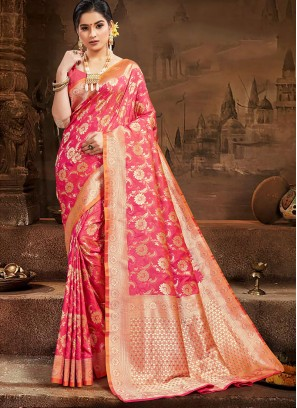Fancy Silk Saree In Pink Color