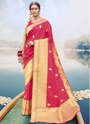 Fancy Silk Saree Woven Work In Pink Color