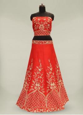 Fancy Silk Zardosi Work Red Lehenga