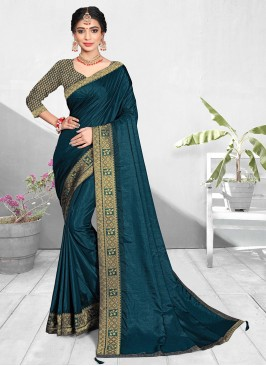Fancy Teal Color Silk Daily Wear Saree