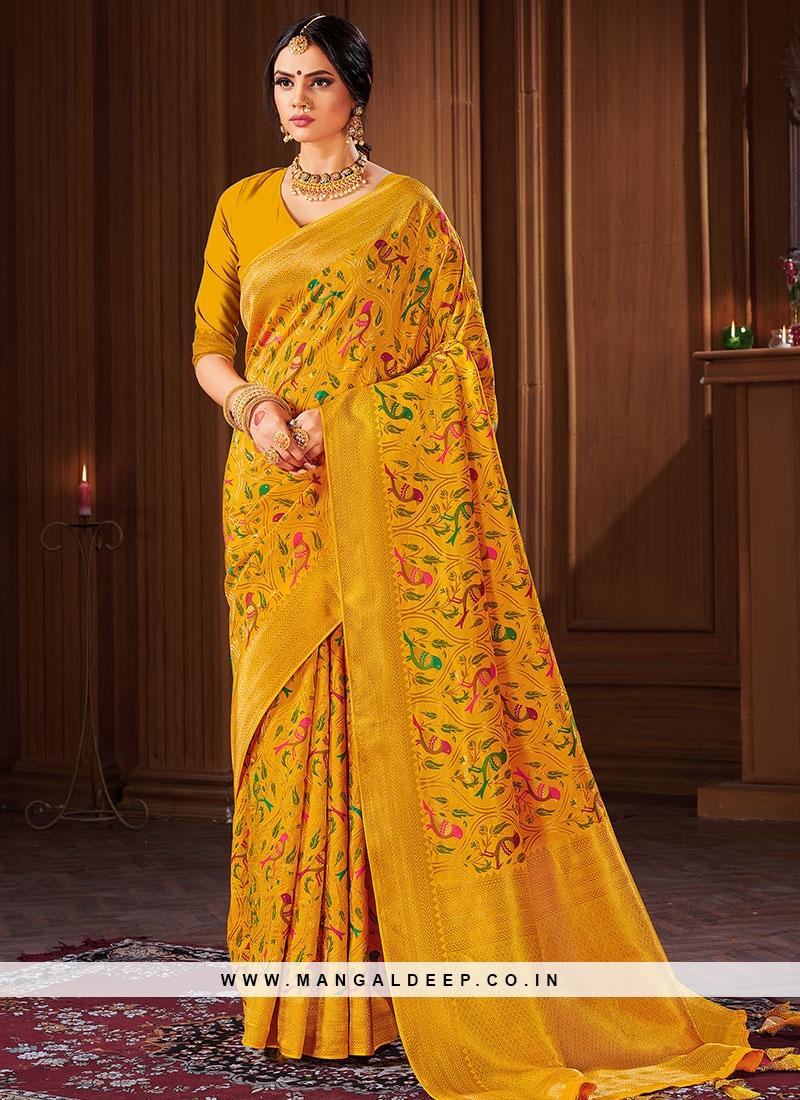 Fancy Yellow Color Banarasi Silk Saree Online