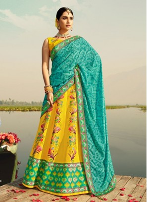 Fancy Yellow Color Printed Silk Lehenga Choli
