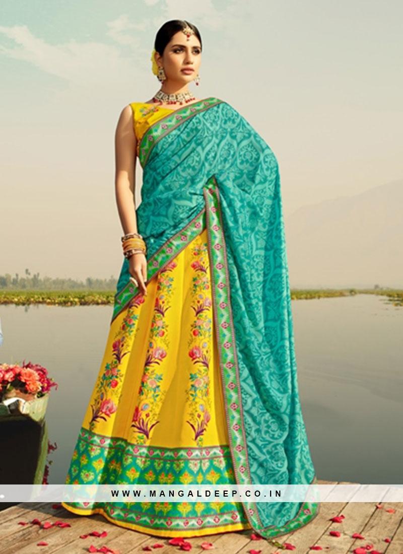 Fancy Yellow Color Printed Silk Lehenga Choli