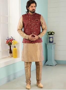 Festive Function Wear Beige Color Kurta Pajama With Jacket
