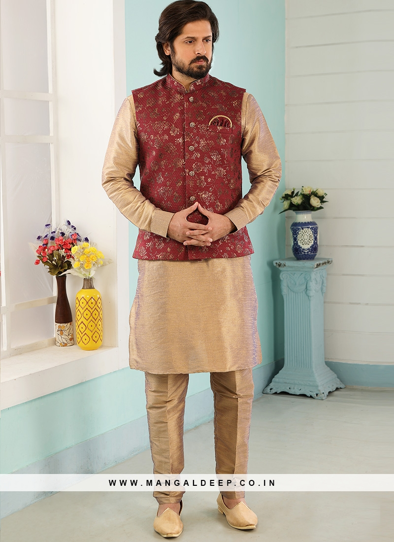 Festive Function Wear Beige Color Kurta Pajama With Jacket