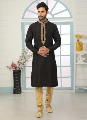 Festive Function Wear Black Color Embroidered Kurta Pajama