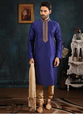 Festive Function Wear Blue Color Banarasi Art Silk Kurta Pajama
