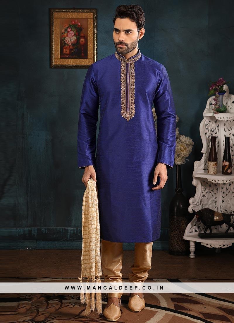 Festive Function Wear Blue Color Banarasi Art Silk Kurta Pajama