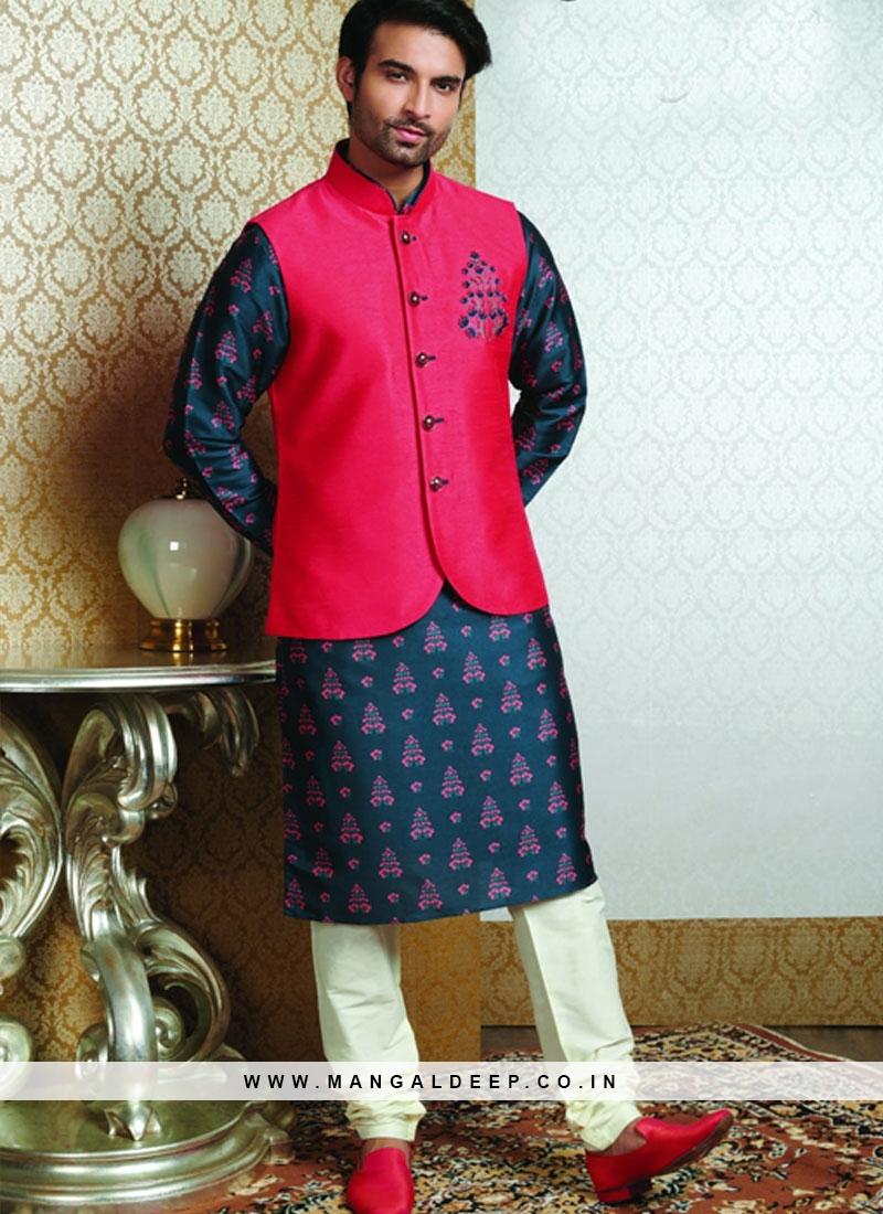 Festive Function Wear Blue Color Designer Kurta Pajama