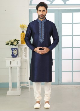 Festive Function Wear Blue Color Embroidered Kurta Pajama