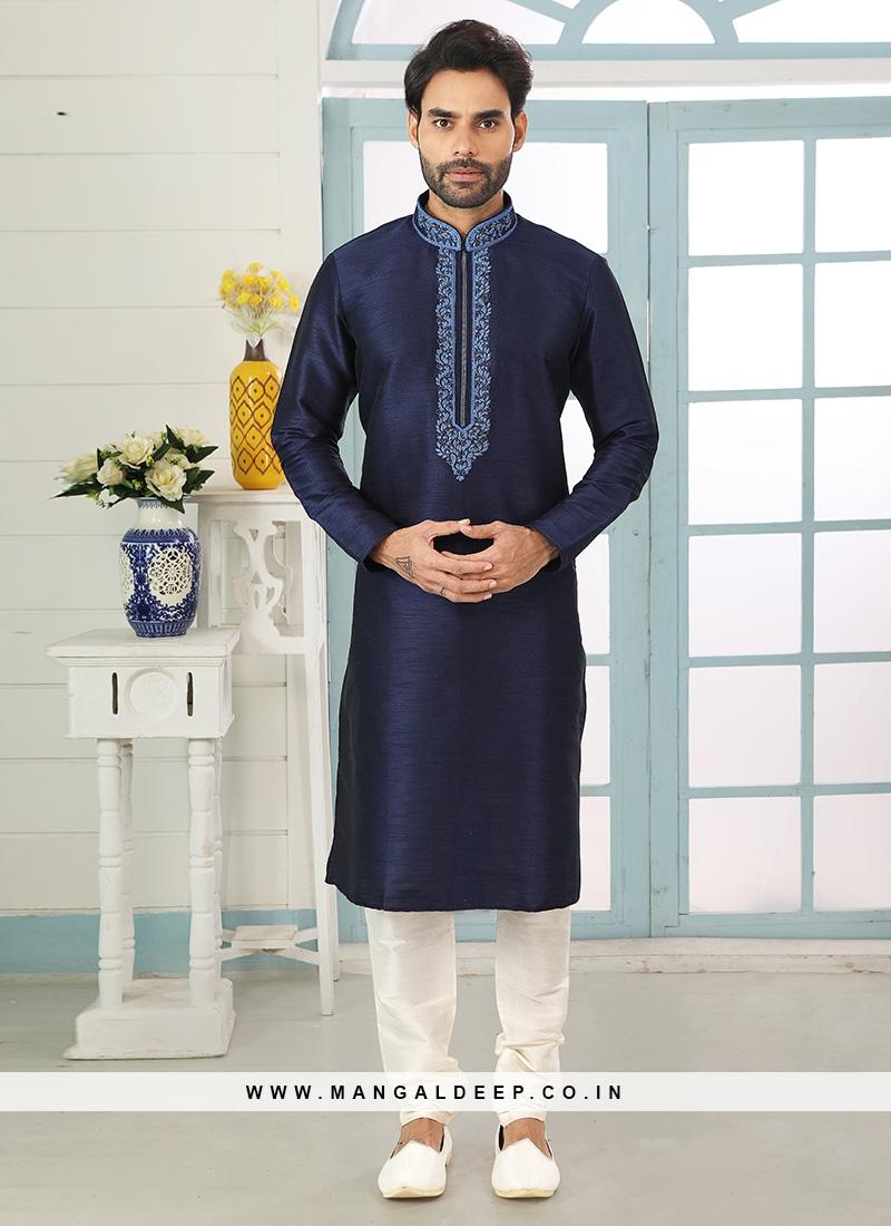 Festive Function Wear Blue Color Embroidered Kurta Pajama