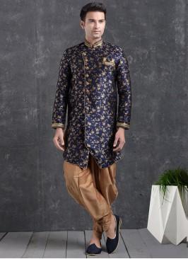 Festive Function Wear Blue Color Indo Western Kurta Pajama