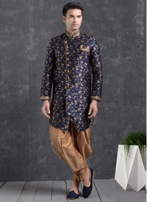 Festive Function Wear Blue Color Indo Western Kurta Pajama