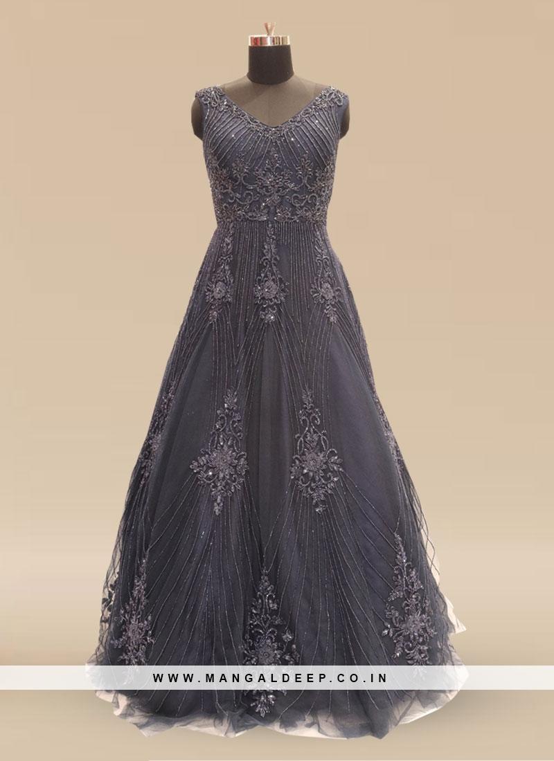 Festive Function Wear Blue Color Net Gown