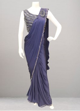 Festive Function Wear Blue Color Saree