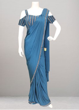 Festive Function Wear Blue Color Saree