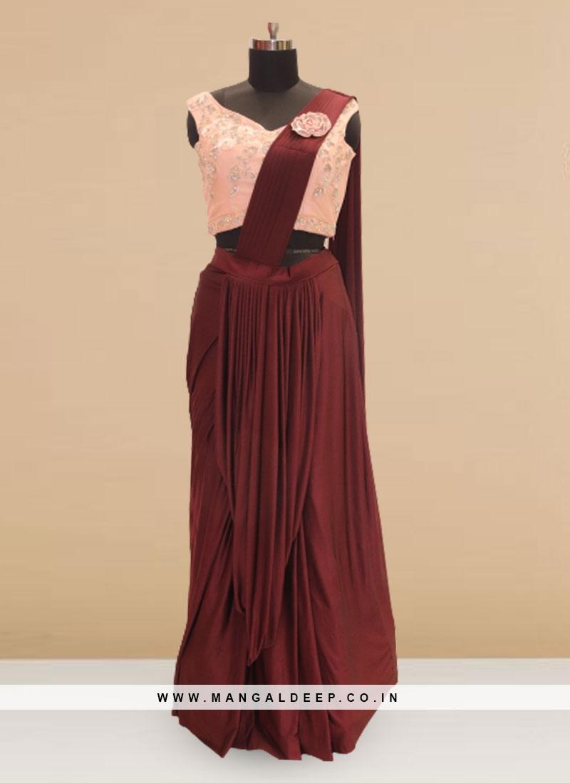 Festive Function Wear Brown Color Saree
