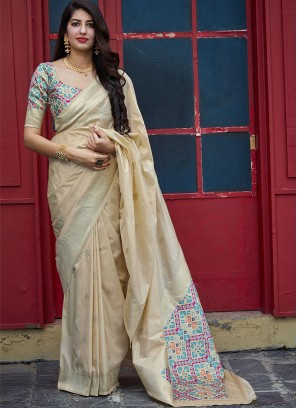 Festive Function Wear Cream Color Banarasi Silk Saree