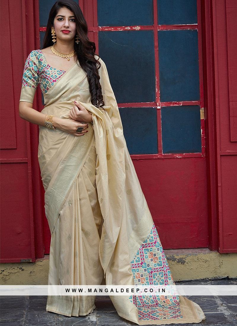 Festive Function Wear Cream Color Banarasi Silk Saree