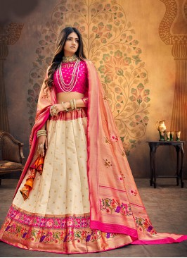Festive Function Wear Cream Color Designer Lehenga Choli