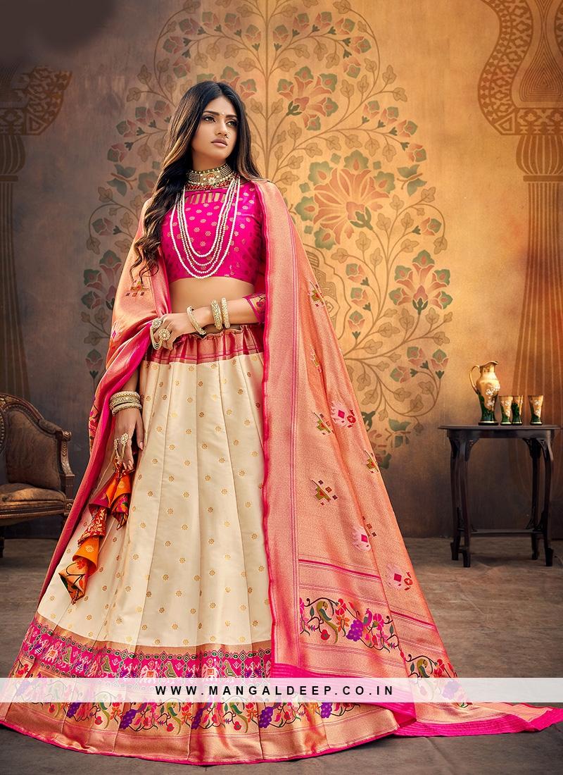 Festive Function Wear Cream Color Designer Lehenga Choli
