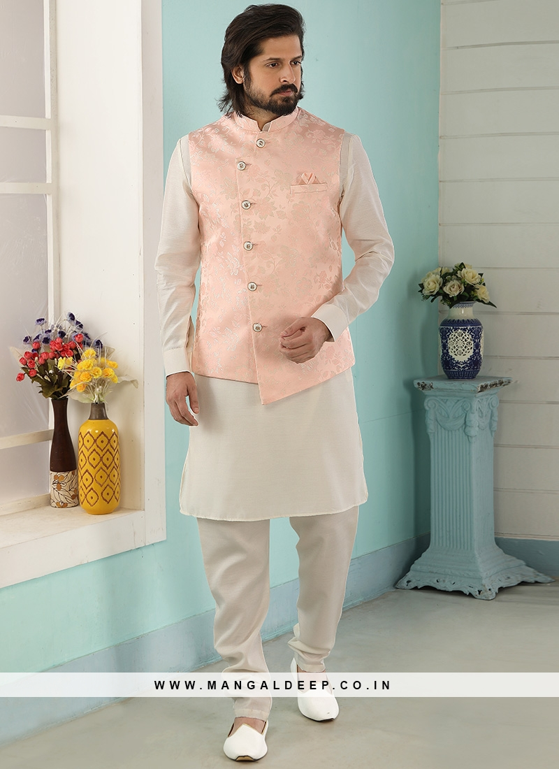 Festive Function Wear Cream Color Kurta Pajama With Jacket