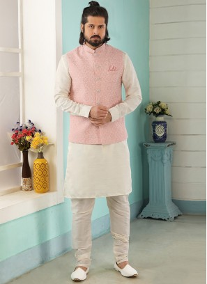 Festive Function Wear Cream Color Kurta Pajama With Jacket