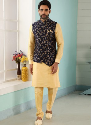Festive Function Wear Gold Color Kurta Pajama With Jacket