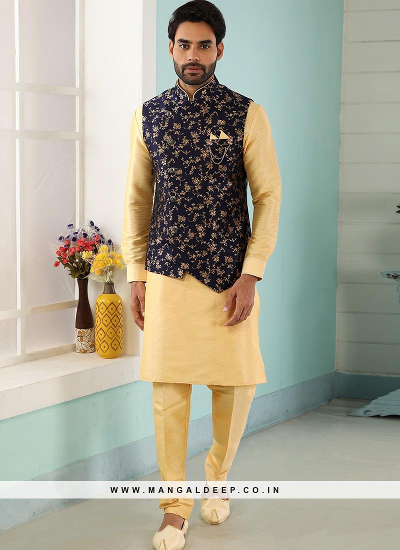 Festive Function Wear Gold Color Kurta Pajama With Jacket