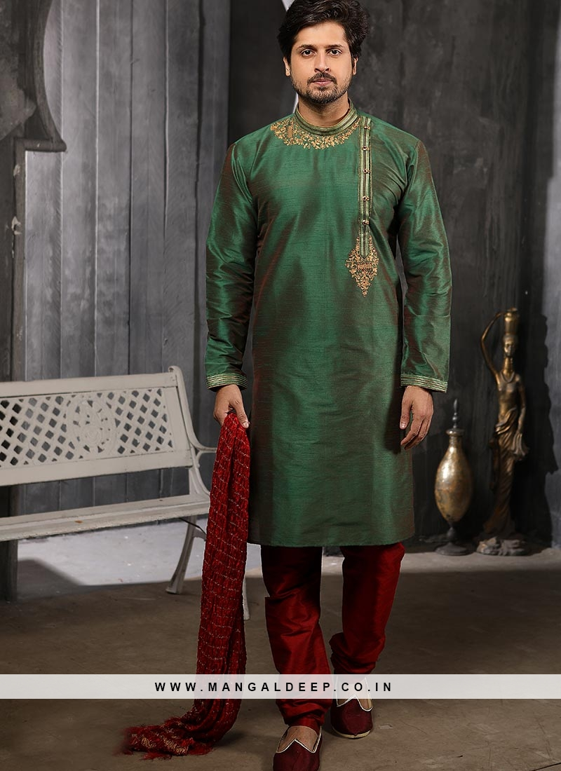 Festive Function Wear Green Color Banarasi Art Silk Kurta Pajama