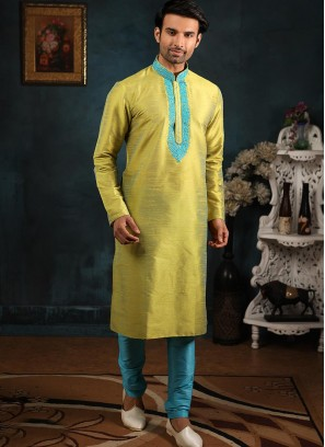 Festive Function Wear Green Color Banarasi Art Silk Kurta Pajama