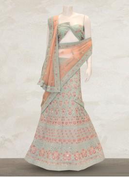 Festive Function Wear Green Color Bridal Lehenga Choli